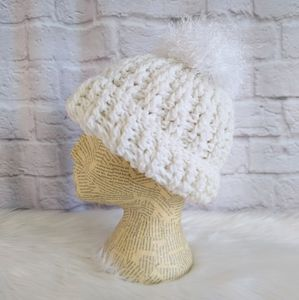 Chunk Knit Winter White Crochet Hat with Pompom